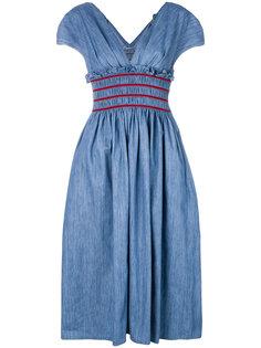 А-образное платье со сборкой на талии  Miu Miu