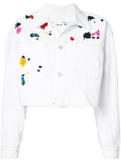укороченный пиджак с вышивкой  Oscar de la Renta