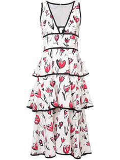 ярусное платье миди с цветочным принтом  Oscar de la Renta