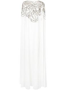 платье-кейп с вышивкой  Oscar de la Renta