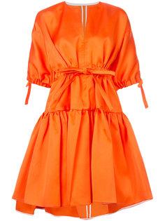 платье с завязками на талии и расклешенной юбкой Maison Rabih Kayrouz