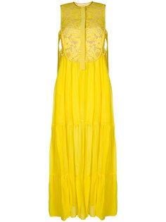 кружевное платье макси с цветочным узором  Miahatami