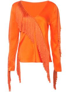 блузка с V-образным вырезом и бахромой Dvf Diane Von Furstenberg