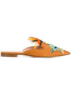 слиперы с вышитым попугаем Alberta Ferretti