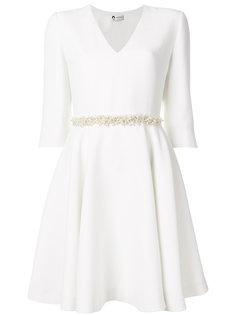 платье с V-образным вырезом и жемчужным поясом  Lanvin