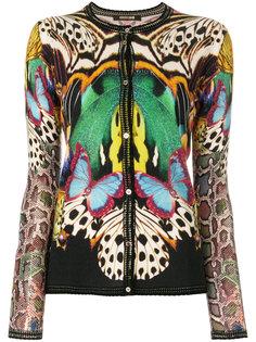animal pattern stitch cardigan Roberto Cavalli