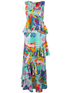 платье с принтом и оборками  House Of Holland