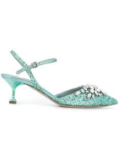 туфли-лодочки с блестками и кристаллами Miu Miu