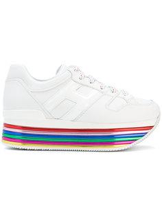 кроссовки на полосатой платформе с логотипом Hogan