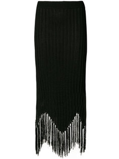 юбка миди в рубчик с бахромой Moschino