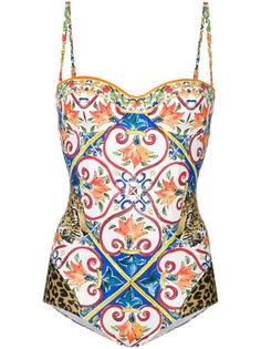 купальник с принтом под керамическую плитку Dolce & Gabbana