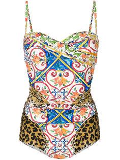 купальник со сплошным принтом Dolce & Gabbana