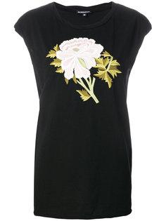 футболка с вышитым пионом  Ann Demeulemeester