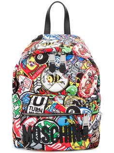 quilted logo patch mini backpack Moschino