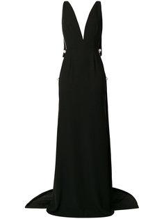 платье с V-образным вырезом и жемчугом  Cristina Savulescu
