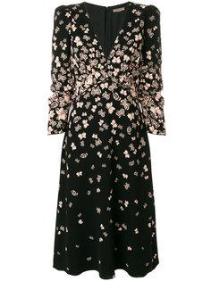 платье с V-образным вырезом и принтом бабочек Bottega Veneta