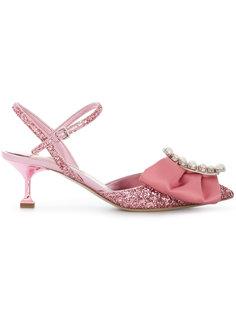 декорированные туфли с ремешком на пятке  Miu Miu