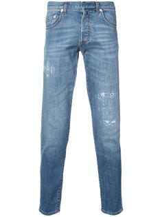 прямые джинсы с рваными деталями Dior Homme