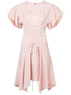 платье с оборчатыми рукавами и шнуровкой на талии Ulla Johnson