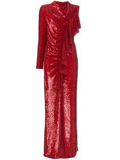 платье с оборкой и отделкой пайетками  Ashish