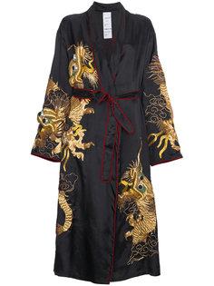 пальто-кимоно с вышитым драконом  Ashish