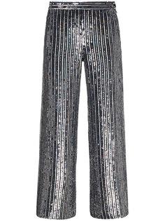 укороченные расклешенные брюки в полоску с пайетками  Ashish