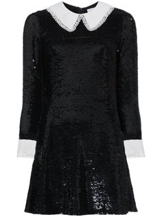 платье мини с пайетками и контрастной отделкой  Ashish