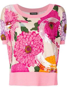 свитер с цветочным узором и пайетками  Twin-Set