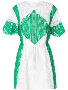 кружевное платье со вставками  Valentino