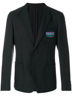 саржевый пиджак с заплаткой Prada