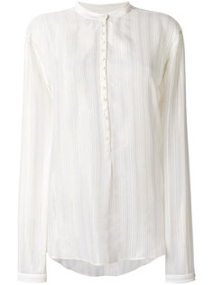 рубашка с люрексом без воротника Saint Laurent