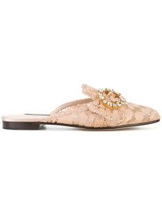 кружевные слиперы с пряжками  Dolce & Gabbana