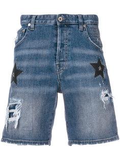 джинсовые шорты с нашивками звезд Just Cavalli