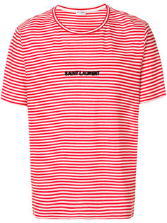 футболка с полосатым узором и логотипом Saint Laurent