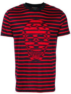 полосатая футболка с принтом черепа Alexander McQueen