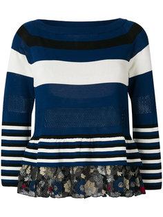 свитер с полоской и оборкой  Antonio Marras