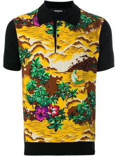 футболка-поло с принтом-пейзажем Hawaii Dsquared2