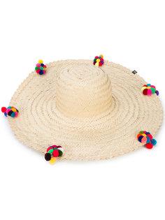 широкополая шляпа с цветами из помпонов Nannacay