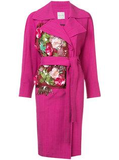 пальто с аппликациями из цветов и поясом Emanuel Ungaro