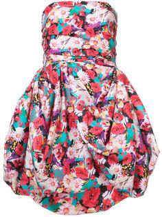 мини-платье с цветочным рисунком и драпированной юбкой Emanuel Ungaro