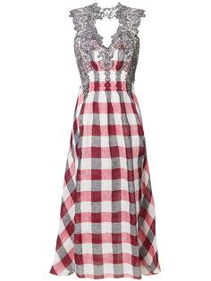 клетчатое платье с кружевной отделкой Ermanno Scervino