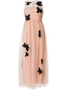 платье из тюля с аппликацией птиц Red Valentino
