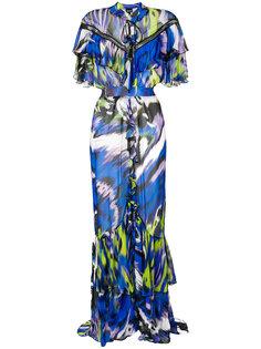 длинное платье с оборками Just Cavalli