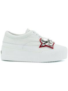 crystal embellished heart patch sneakers Miu Miu