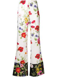 расклешенные брюки с цветочным принтом Blugirl