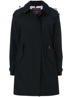 однобортное пальто с капюшоном  Woolrich