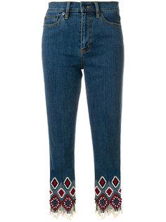 джинсы с вышивкой Tory Burch