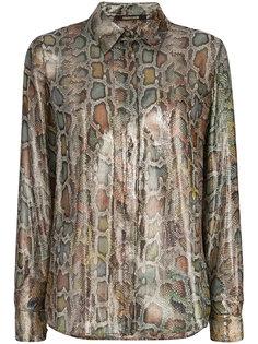 рубашка металлик со змеиным принтом  Roberto Cavalli