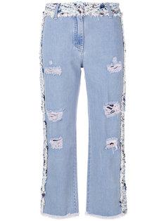 твидовые джинсы со вставками  Blumarine