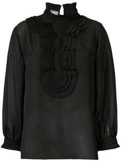 прозрачная блузка с плиссировкой Prada